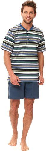 Doctor Nap Bawełniana piżama męska z koszulką w zielone paski M M