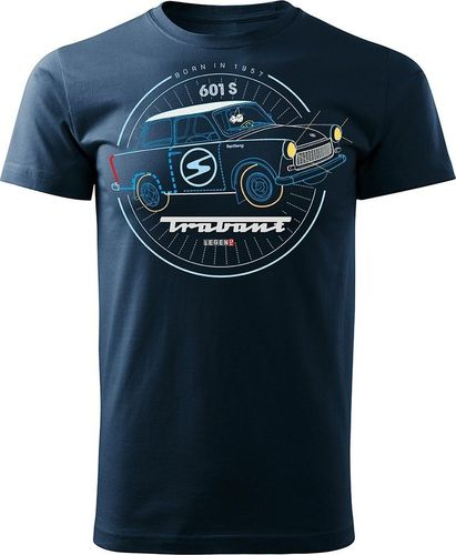 Topslang Koszulka z samochodem Trabant męska granatowa REGULAR M