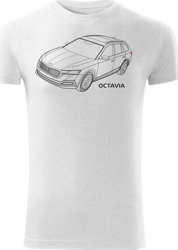 Topslang Koszulka z samochodem Skoda Octavia męska biała SLIM S