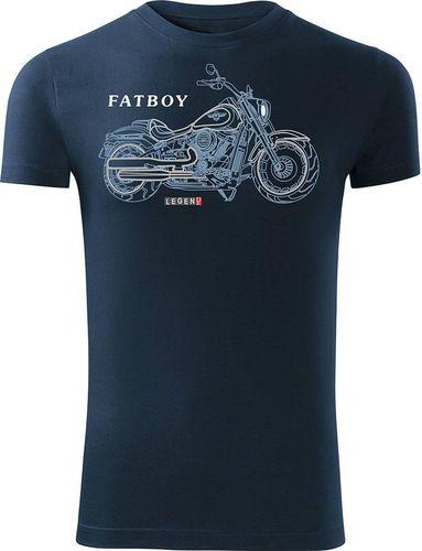 Topslang Koszulka motocyklowa z motocyklem HARLEY DAVIDSON FATBOY męska granatowa SLIM S