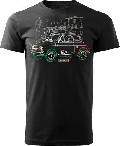 Topslang Koszulka z samochodem Fiat 500 męska czarna REGULAR L