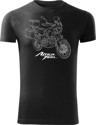 Topslang Koszulka motocyklowa z motocyklem Honda Africa Twin męska czarna SLIM L