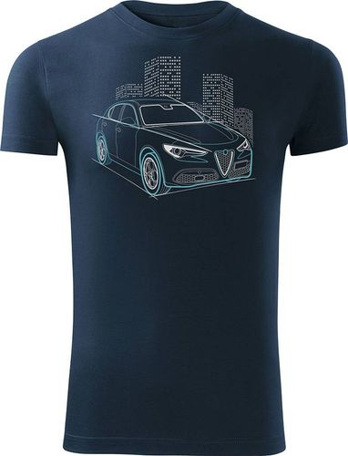 Topslang Koszulka z samochodem Alfa Romeo Stelvio męska granatowa SLIM S