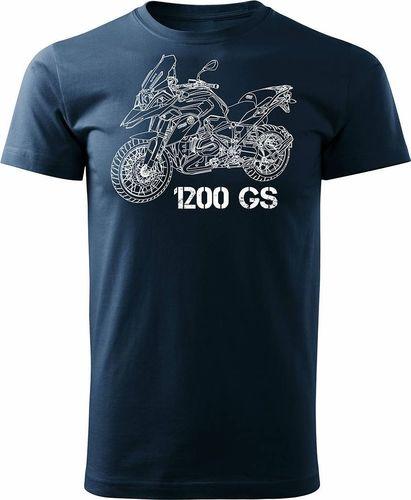 Topslang Koszulka motocyklowa z motocyklem BMW GS 1200 męska granatowa REGULAR XL
