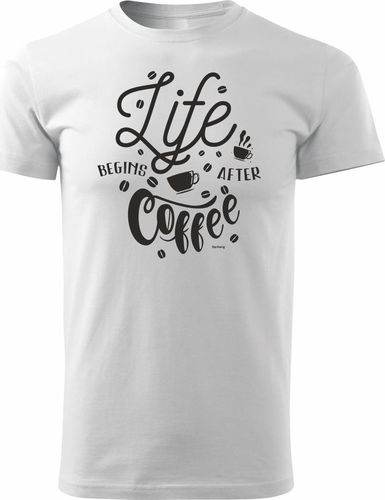Topslang Koszulka z kawą Life Coffee męska biała REGULAR S