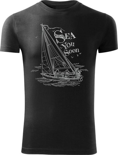 Topslang Koszulka żeglarska z jachtem męska czarna SLIM L