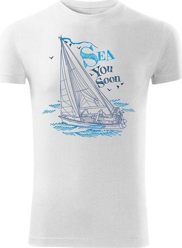 Topslang Koszulka żeglarska z jachtem męska biała SLIM S