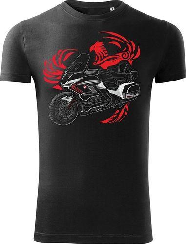 Topslang Koszulka motocyklowa z motocyklem Honda Goldwing męska czarna SLIM L