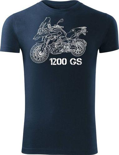 Topslang Koszulka motocyklowa z motocyklem BMW GS 1200 męska granatowa SLIM L