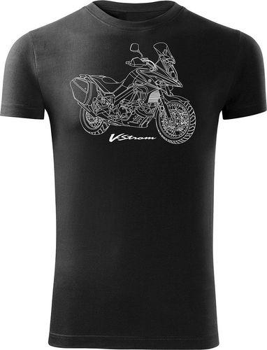 Topslang Koszulka motocyklowa z motocyklem Suzuki V-strom DL-650 męska czarna SLIM L