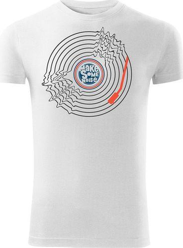 Topslang Koszulka z płytą winylową Vinyl męska biała SLIM L