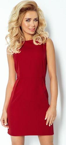 numoco 103-4 KLASYCZNA sukienka z zakładkami w pasie - BORDO