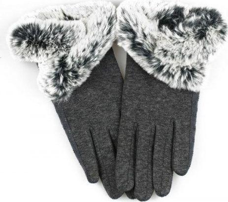 eCarla Rękawiczki glam futro sztuczne materiałowe dotykowe szarość REK124