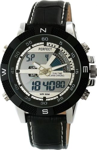Zegarek Perfect Zegarek Męski PERFECT KANONIER LCD DUAL TIME A857-1
