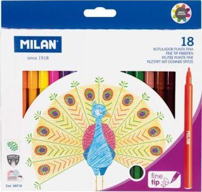 Milan Flamastry z cienką końcowką 18 kolorów 06F18 MILAN