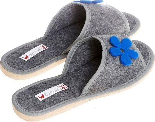 xxx_Wójciak Podhale Wsuwane odkryte kapcie z filcu pantofle z niebieskim kwiatem pw117 35