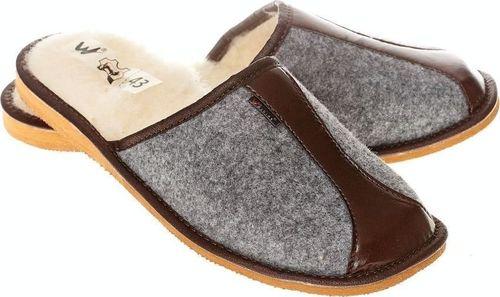 xxx_Wójciak Podhale Męskie kapcie z filcu ciepłe pantofle ocieplane naturalną wełną pw285 brązowy 45