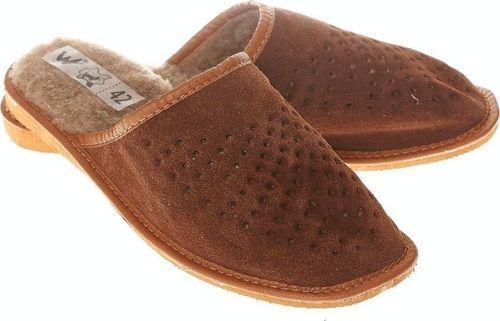 xxx_Wójciak Podhale Pantofle męskie z ciepłym kożuszkiem na wkładce klapki domowe pw288 40