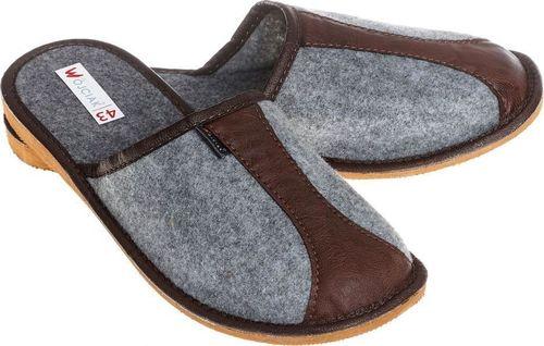 xxx_Wójciak Podhale Wygodne kapcie męskie z filcu pantofle z wstawką skóry pw283 brązowy 40