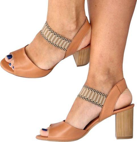 Tymoteo Wygodne sandały z gumą - TYMOTEO MAIDA KARMELOWE 40
