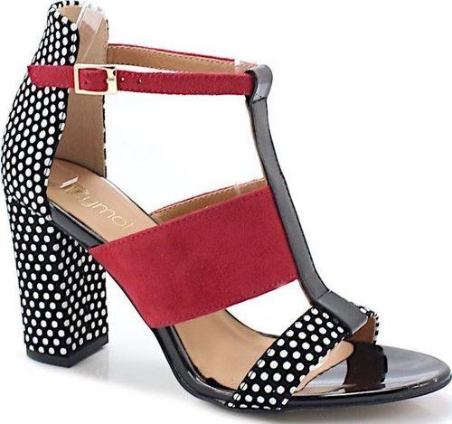 Tymoteo TYMOTEO 17603 CZARNE - Sandały z modnym wzorem 39