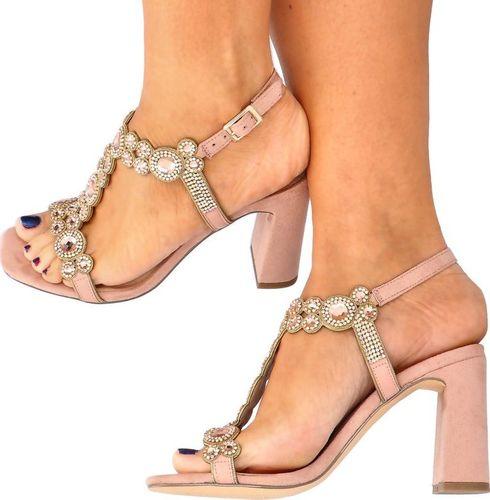 Menbur MENBUR 21651 RÓŻOWE - Błyszczące sandały na słupku 38