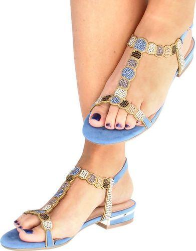 Menbur MENBUR 21576 MORSKI - Błyszczące płaskie sandały 36