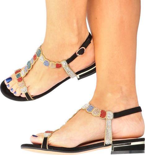 Menbur MENBUR 21576 CZARNY - Błyszczące płaskie sandały 36