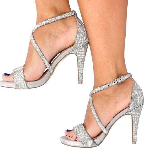 Menbur Błyszczące sandały na szpilce - MENBUR 22148 SREBRNE 39