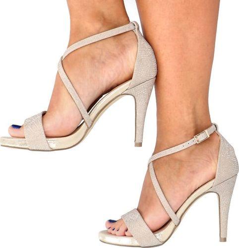 Menbur Błyszczące sandały na szpilce - MENBUR 22148 ZŁOTE 35