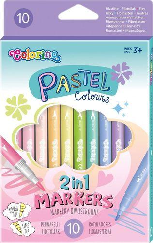 Patio Flamastry dwustronne 10 kolorów pastel Colorino Kids