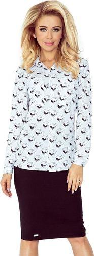 Morimia MM 018-5 Koszula z KIESZONKAMI - biała + czarne KOTY