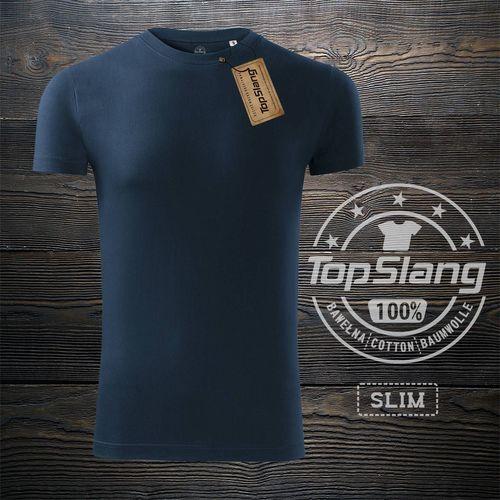 Topslang Topslang koszulka męska bawełniana granatowa t-shirt męski granatowy SLIM XXL