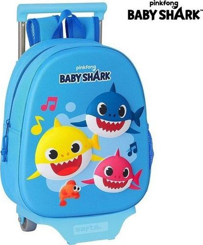 Baby Shark Plecak szkolny 3D z kółkami 705 Baby Shark Jasnoniebieski