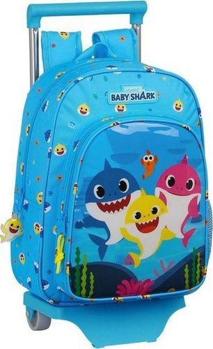 Baby Shark Torba szkolna z kółkami 705 Baby Shark Jasnoniebieski