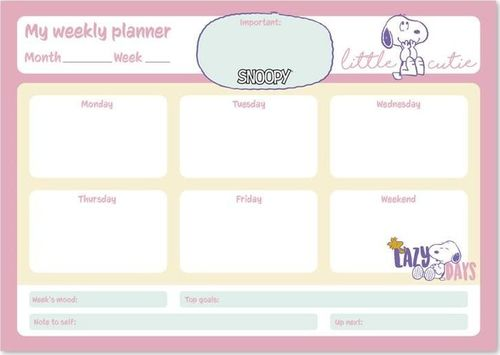 Snoopy Snoopy - Planner tygodniowy A4