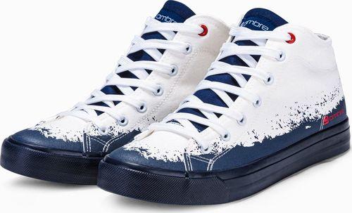 Ombre Trampki męskie sneakersy T364 - białe/granatowe 40