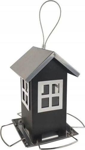 Karmnik metalowy Budka dla ptaków CZARNA