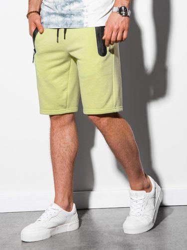 Ombre Krótkie spodenki męskie dresowe W239 - limonkowe S