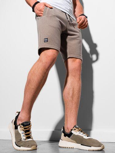 Ombre Krótkie spodenki męskie dresowe W294 - brązowe XL