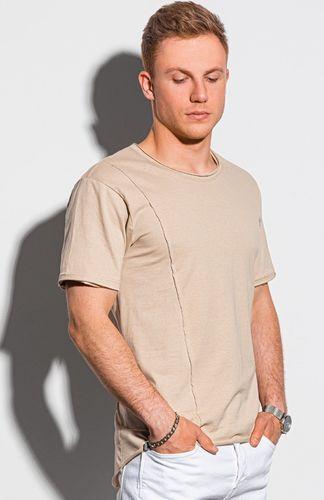 Ombre T-shirt męski bawełniany S1378 - beżowy L