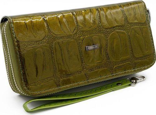 4U Cavaldi Lakierowany portfel damski z eko skóry croco, z dopinaną smyczą Cavaldi