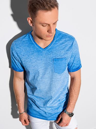 Ombre T-shirt męski bawełniany S1388 - niebieski L