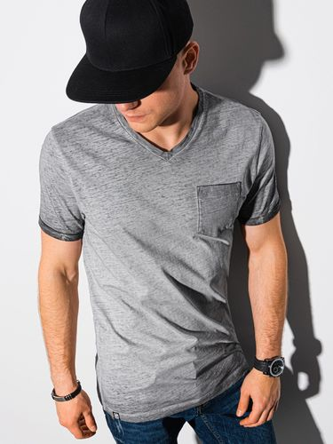Ombre T-shirt męski bawełniany S1388 - szary S