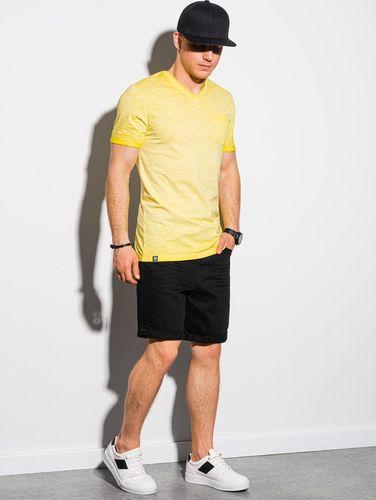 Ombre T-shirt męski bawełniany S1388 - żółty S