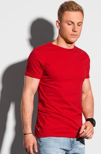 Ombre T-shirt męski bawełniany basic S1370 - czerwony S