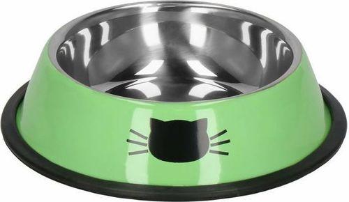 Springos Miska dla kota metalowa, antypoślizgowa na gumie zielona UNIWERSALNY