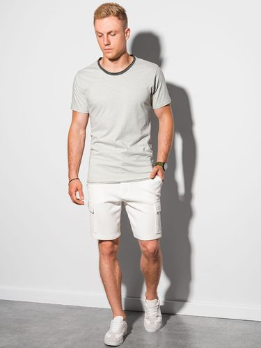 Ombre T-shirt męski bawełniany S1385 - jasnoszary S