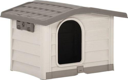 vidaXL Buda dla psa, beżowo-brązowa, 89 x 75 x 62 cm