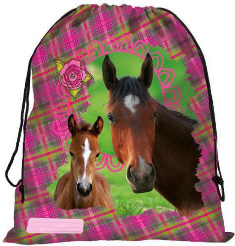 Derform Worek szkolny Konie różowo-zielony (DERF.WOKO10)